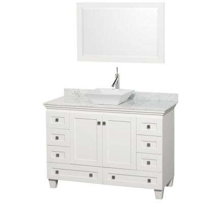 Acclaim 48 in. W Vanity in White with Marble Vanity Top in Carrara White, White Sink and Mirror