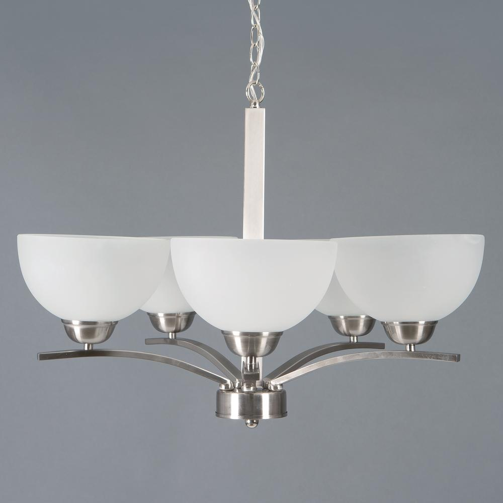 Yosemite Home Decor Alta Peak 5-Light Satin Steel Hanging Chandelier with Acid Wash Glass Shade