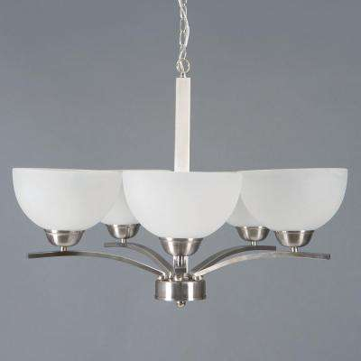 Alta Peak 5-Light Satin Steel Hanging Chandelier with Acid Wash Glass Shade