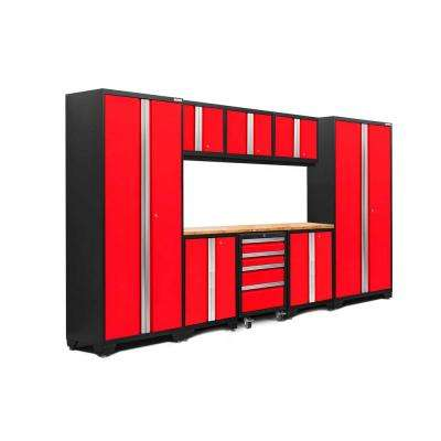 Bold 3.0 77.25 in. H x 132 in. W x 18 in. D 24-Gauge Welded Steel Bamboo Worktop Cabinet Set in Red (9-Piece)
