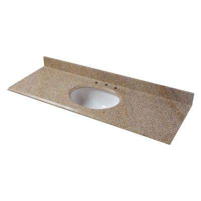 61 in. Granite Vanity Top in Beige with White Basin