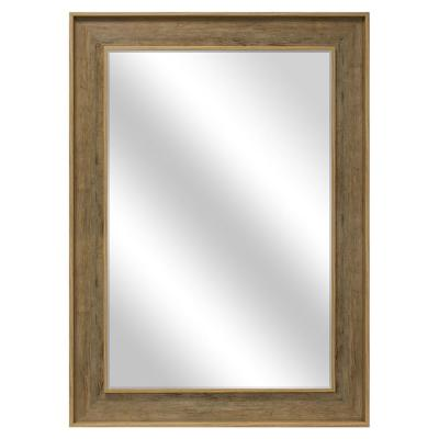 Medium Rectangle Greywash Beveled Glass Modern Mirror (36 in. H x 48 in. W)