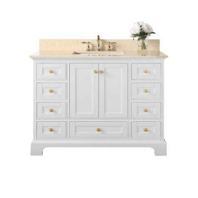 Audrey 48 in. W x 22 in. D Vanity in White with Marble Vanity Top in Galala Beige with White Basin and Gold Hardware