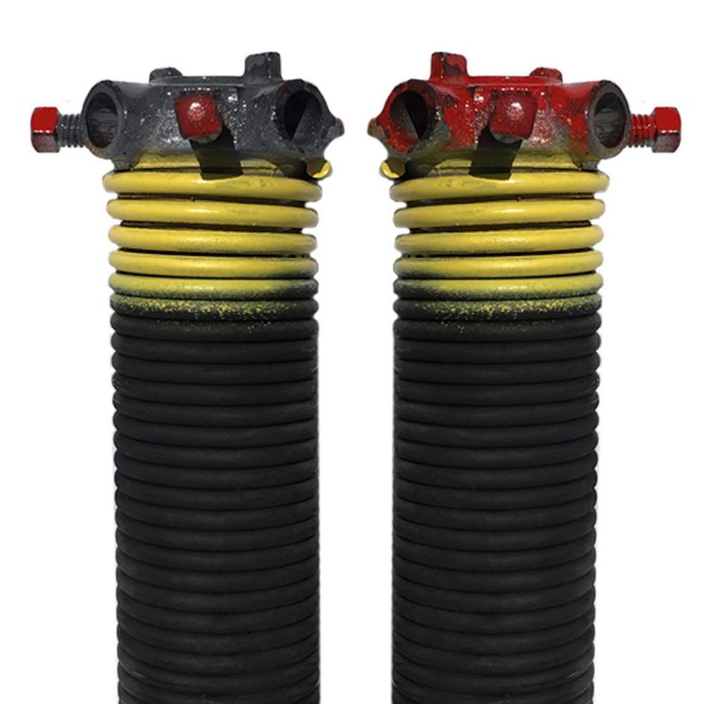 DURA-LIFT 0.207 in. Wire x 2 in. D x 23 in. L Torsion Springs in Yellow Left and Right Wound Pair for Sectional Garage Doors