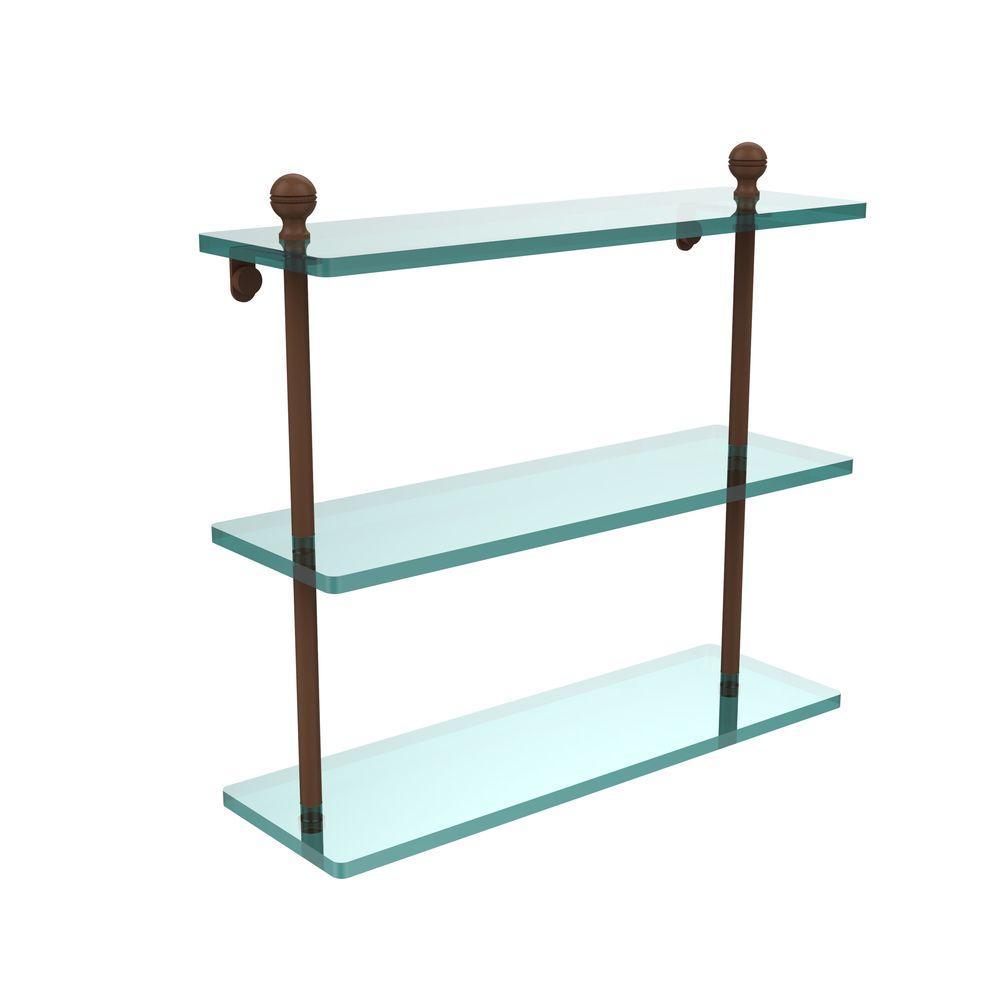 Mambo 16 in. L x 15 in. H x 5 in. W 3-Tier Clear Glass Bathroom Shelf in Antique Bronze