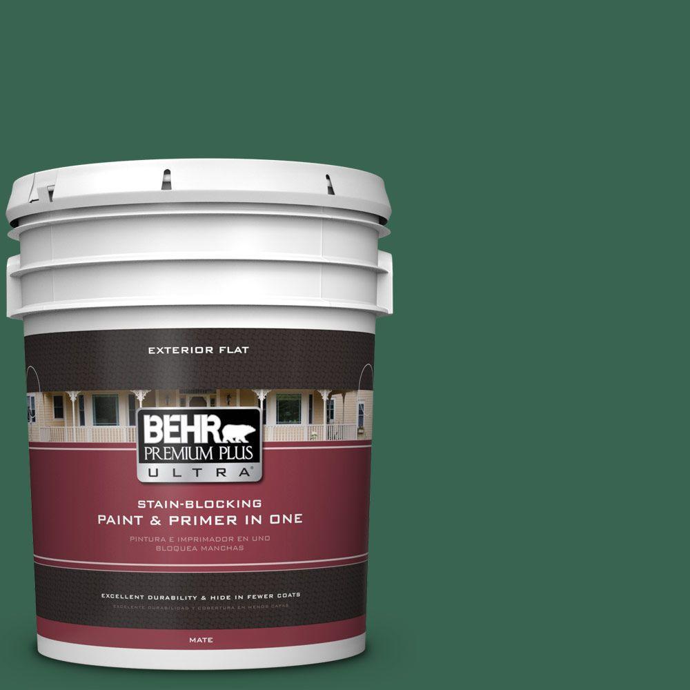 BEHR Premium Plus Ultra 5-gal. #480D-7 Isle of Pines Flat Exterior Paint