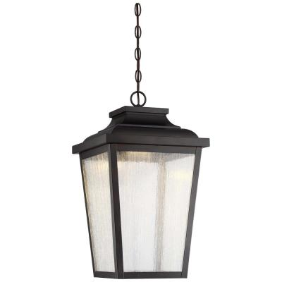 Irvington Manor Chelesa Bronze Integrated LED Hanging Lantern with Clear Seeded Glass