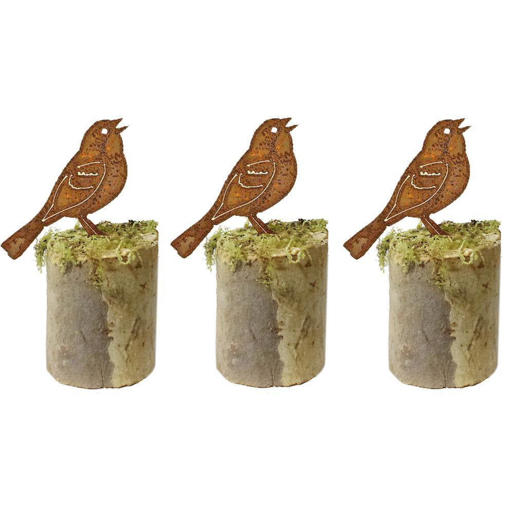 5 in. Tall Metal Rustic Look Artwork Vesper Sparrow Silhouettes (Set of 3)