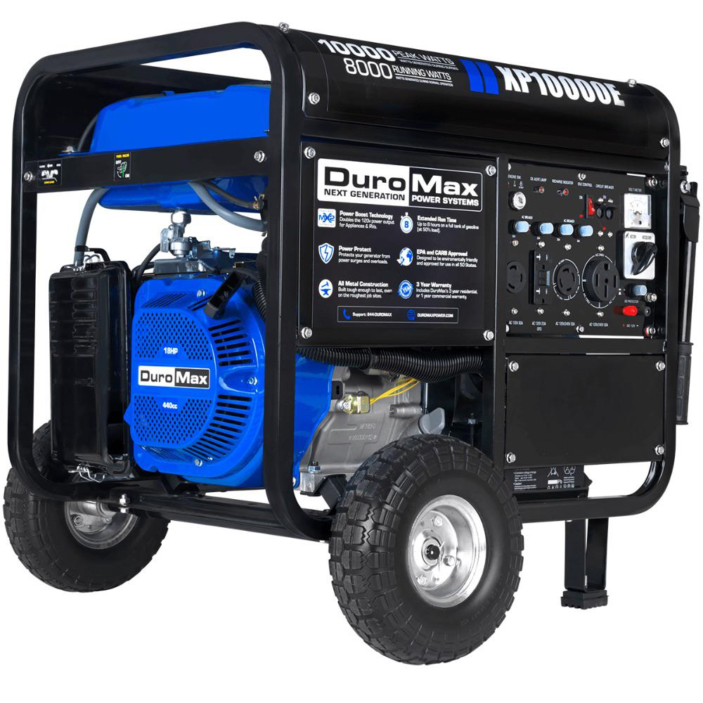 DUROMAX 10000-Watt/8,000-Watt Electric Start Gasoline Powered Portable Generator with Wheel Kit