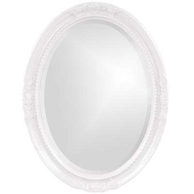 33 in. x 25 in. Glossy White Vintage Oval Framed Mirror