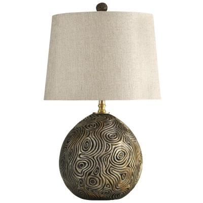 30 in. Distressed Gold Table Lamp with White Hardback Fabric Shade