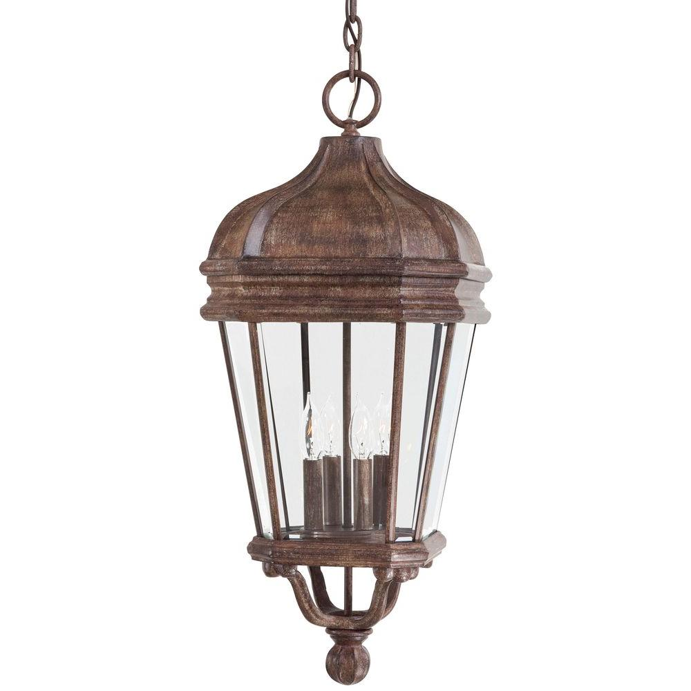 The Great Outdoors By Minka Lavery Harrison Vintage Rust 4 Light Indoor Outdoor Hanging Lantern