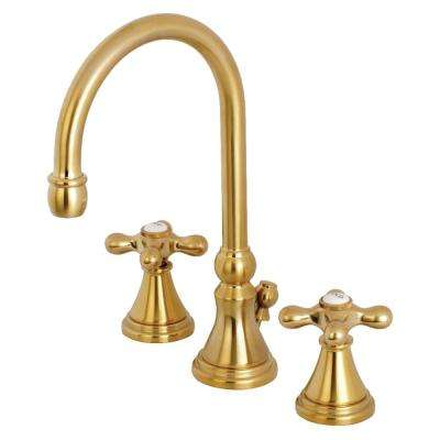 Governor Cross 8 in. Widespread 2-Handle High-Arc Bathroom Faucet in Satin Brass