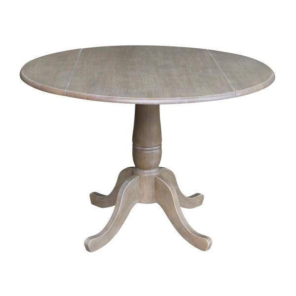 International Concepts Laurel Weathered Taupe Gray 42 in. Drop-Leaf Dining Table
