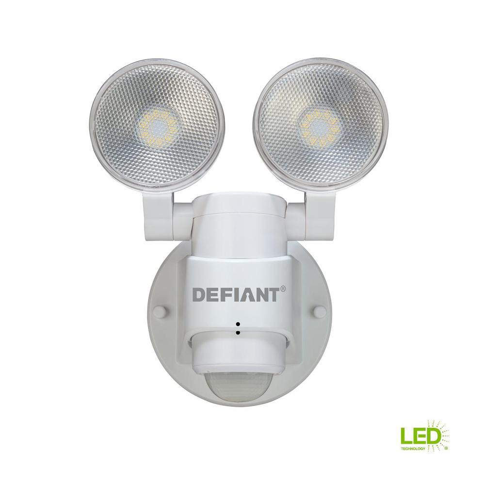 Defiant 180 Degree 2 Head White Outdoor Flood Light Dfi 5936 Wh Switches Wiring Diagram Free Download The Home Depot