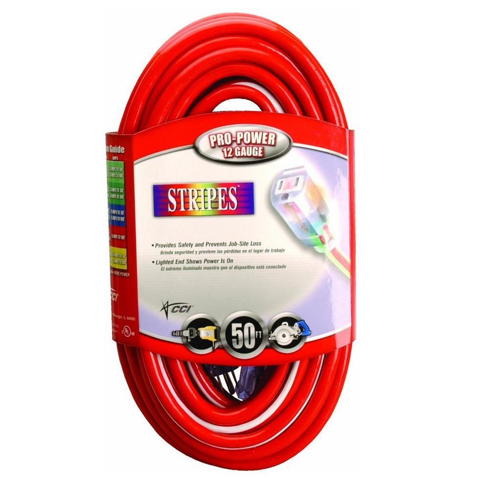 50 ft. 12/3 SJTW Hi-Visbility Multi-Color Outdorr Heavy-Duty Extension Cord with