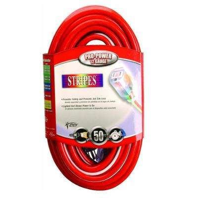50 ft. 12/3 SJTW Hi-Visbility Multi-Color Outdoor Heavy-Duty Extension Cord with Power Light Plug