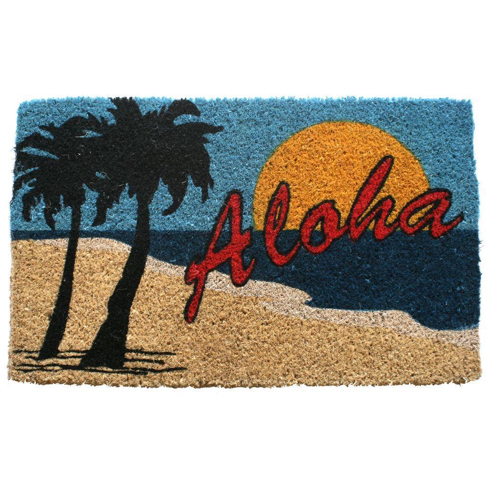 Entryways Aloha Beach 18 In. X 30 In. Hand Woven Coconut Fiber Door Mat