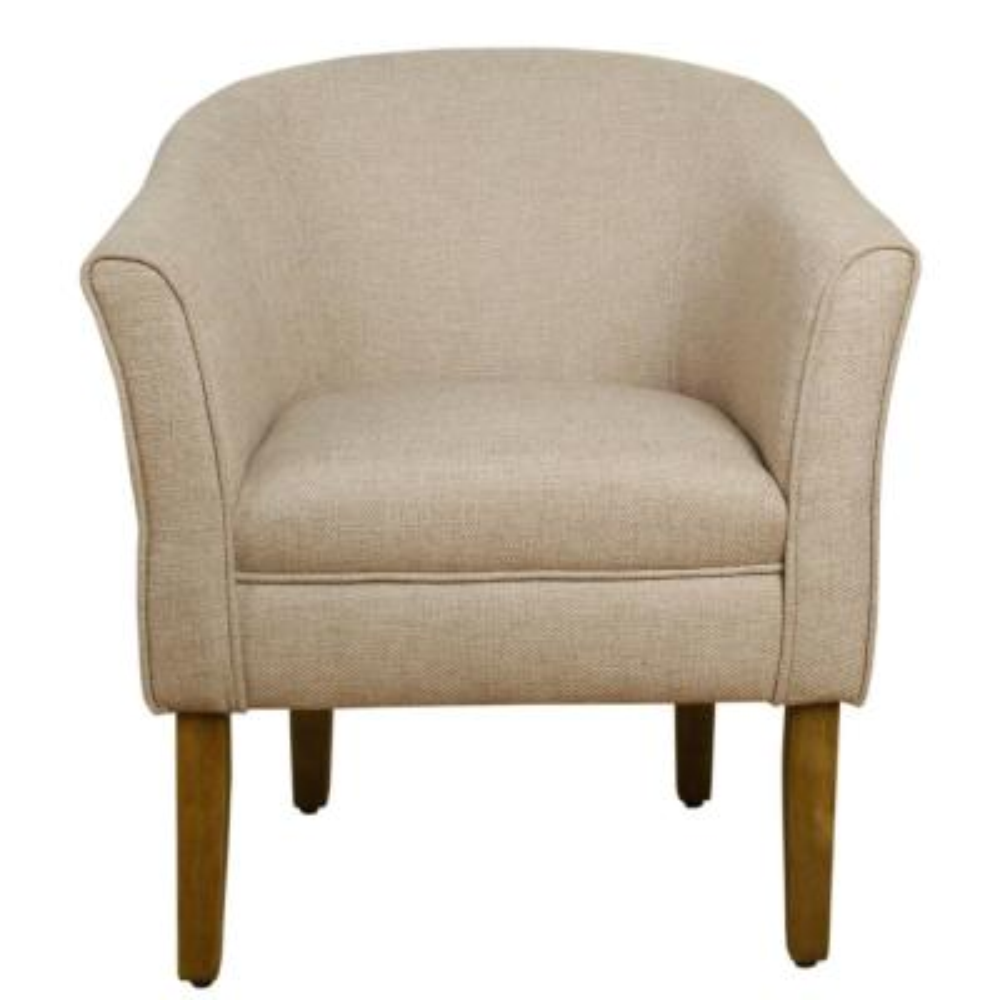 Flax Brown Textured Polyester Modern Barrel Accent Chair