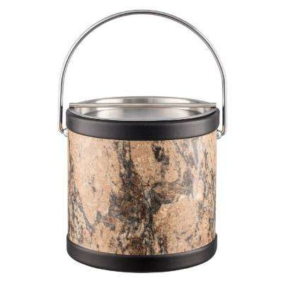 Russet Stone 3 Qt. Brown Ice Bucket with Bale Handle and Metal Bar Lid