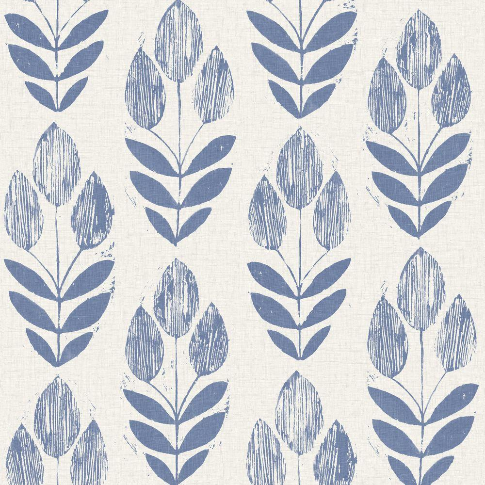 Beacon House Scandinavian Blue Block Print Tulip Wallpaper