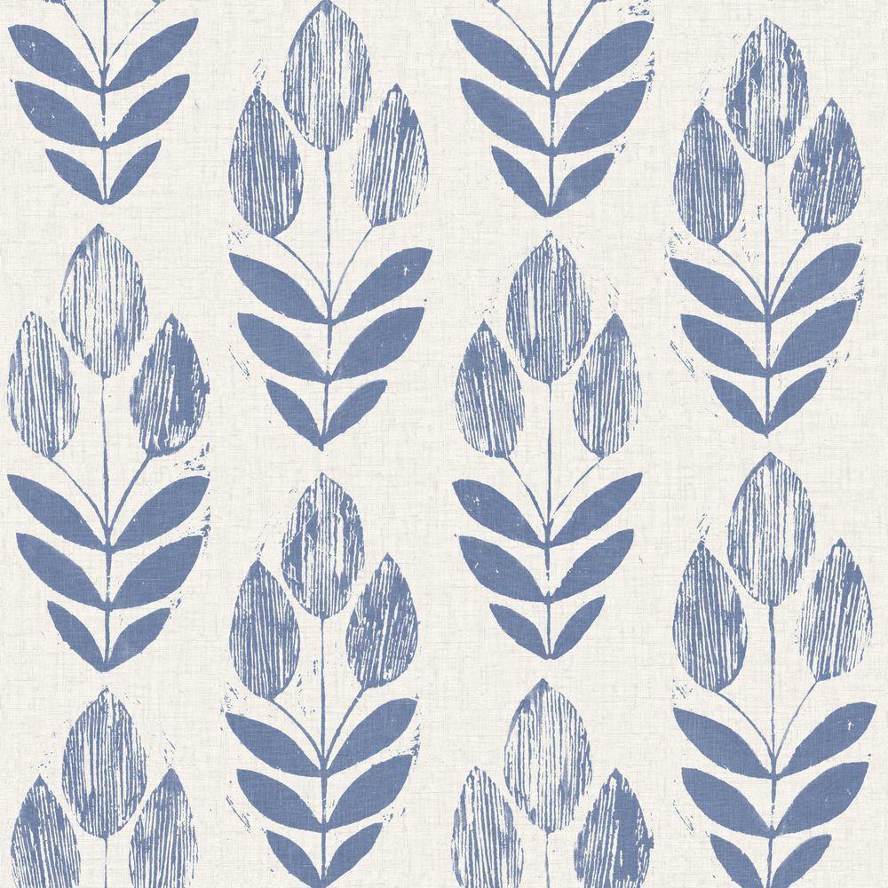 Scandinavian Blue Block Print Tulip Strippable Roll Wallpaper (Covers 56 sq. ft.)