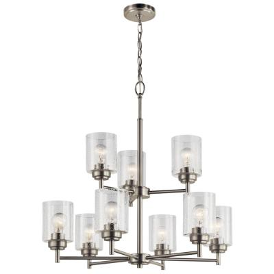 Winslow 9-Light Brushed Nickel 2 Tier Chandelier with Clear Seeded Glass Shade