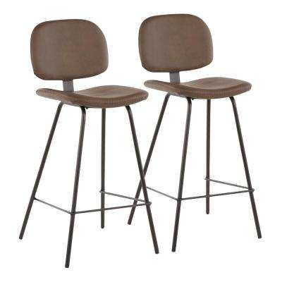 Industrial Nunzio 26 in. Brown Faux Leather Counter Stool (Set of 2)