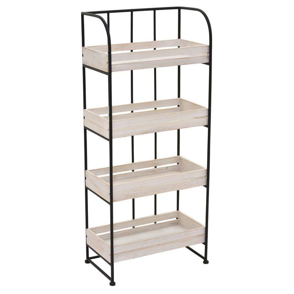 37 in. Metal/Wood Storage Rack in White