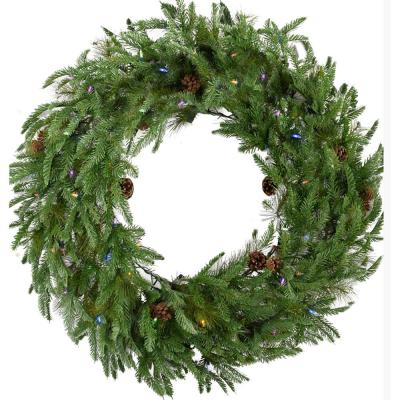 48 in. Norway Pine Artificial Holiday Wreath with Multi-Colored LED String Lights