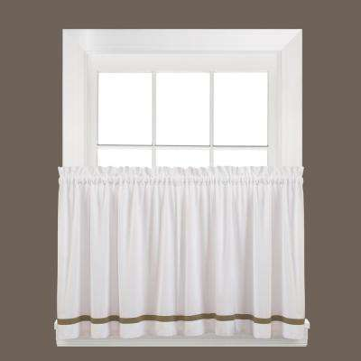Semi-Opaque Kate 36 in. L Polyester Tier Curtain in Taupe (2-Pack)