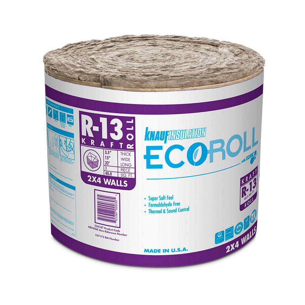 R-13 EcoRoll Kraft Faced Fiberglass Insulation Roll 15 in. x 32 ft. (36-Rolls)