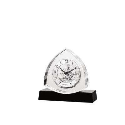 6 in. H x 6.5 in. W Crystal Table Clock with Ebony Gloss Base