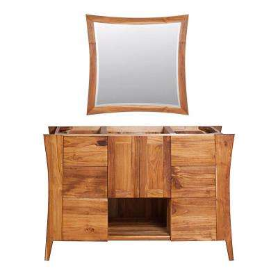 Curvature 48 in. L Natural Teak Vanity Only With 36 in. L x 35 in. H Mirror