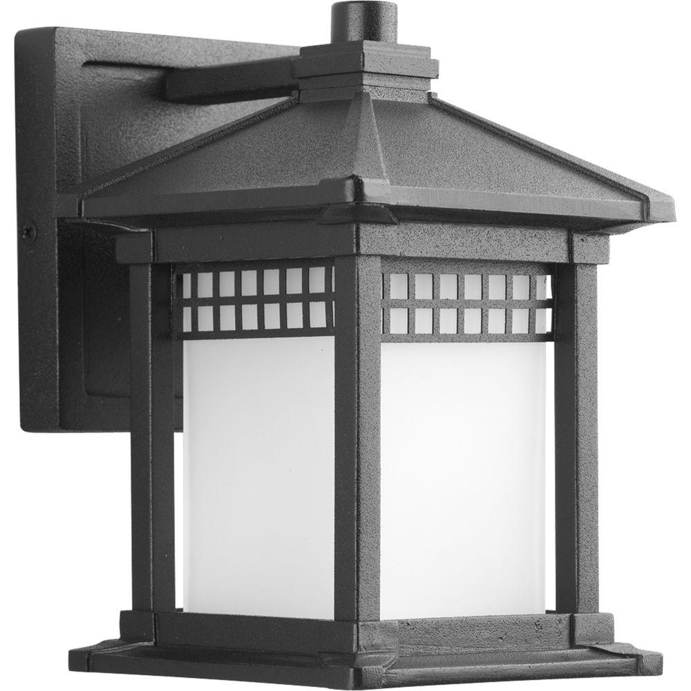 Progress Lighting Merit Collection 1-Light Small 8 in. Outdoor Black Wall Lantern