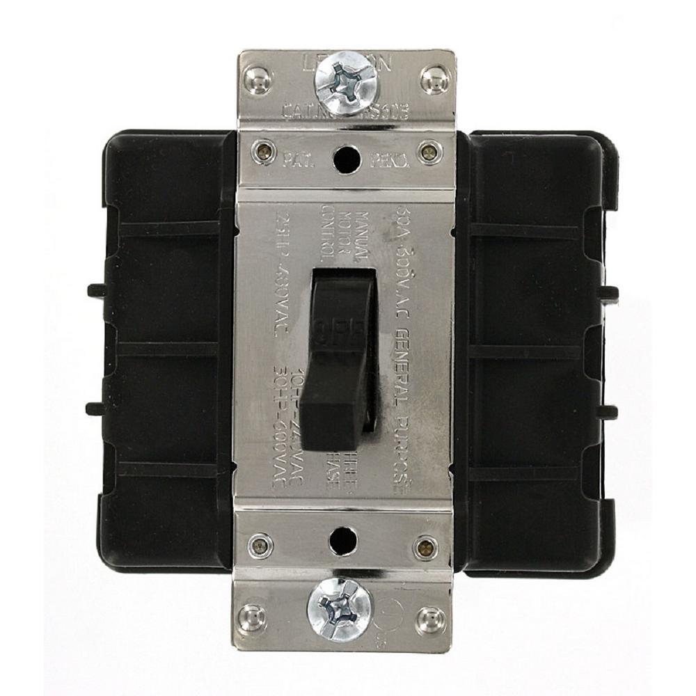 Leviton 60 Amp 600-Volt Industrial Grade Three Pole 3-Phase AC Motor ...