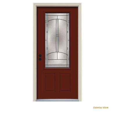36 in. x 80 in. 3/4 Lite Idlewild Mesa Red Painted Steel Prehung Right-Hand Inswing Front Door w/Brickmould