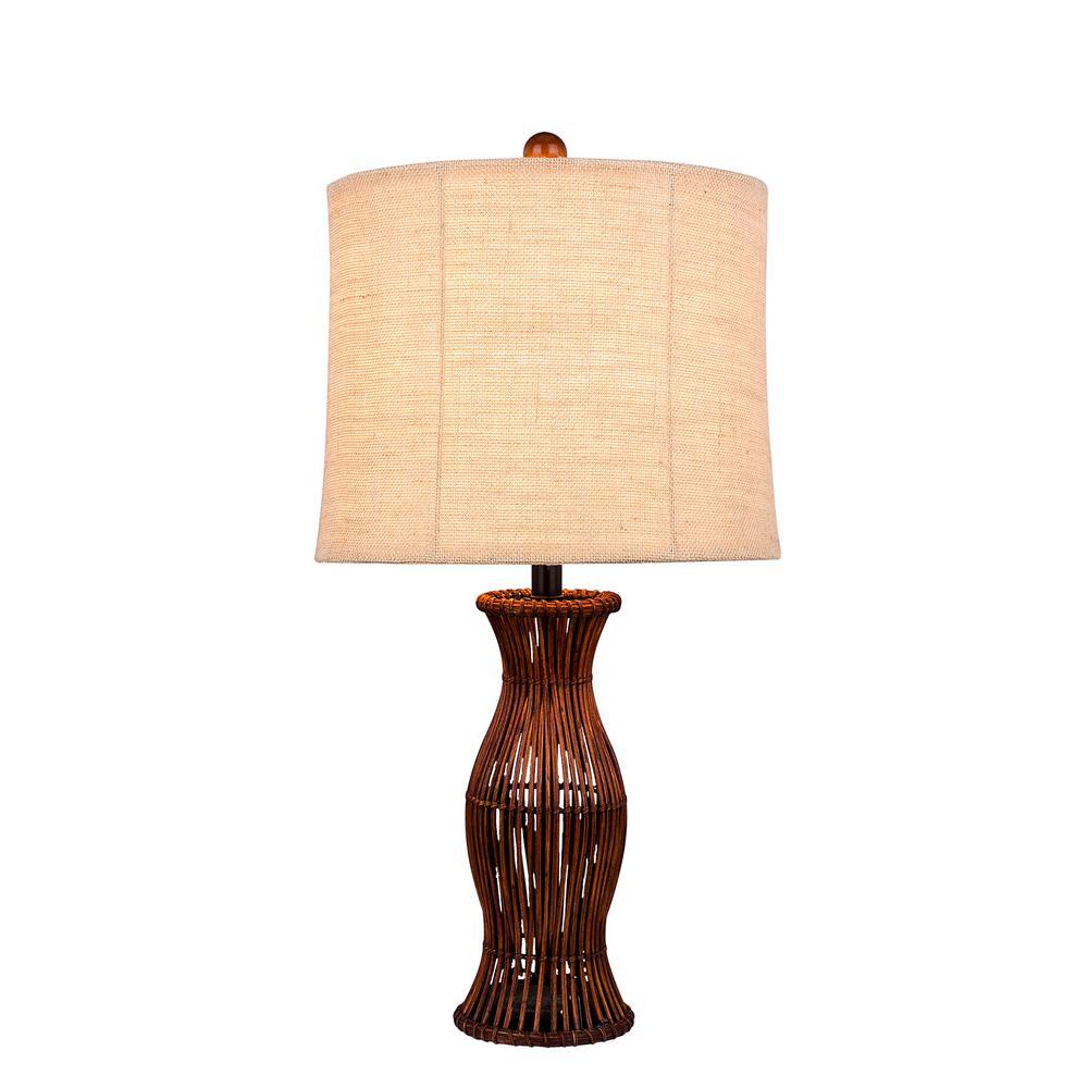 26 in. Brown Rattan Table Lamp
