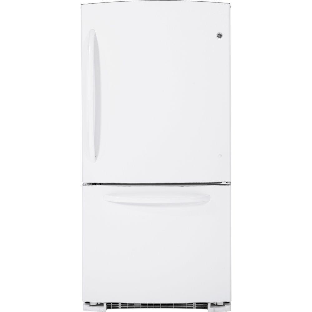 GE 33 in. W 22.7 cu. ft. Bottom Freezer Refrigerator in White