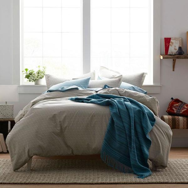 On Point Taupe Geometric Organic Cotton Percale Queen Duvet Cover