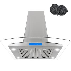 cosmo 30 in ductless island range hood in stainless steel with led lighting and carbon filter. Black Bedroom Furniture Sets. Home Design Ideas