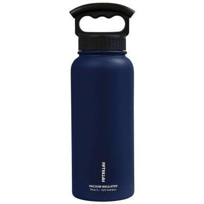 34 oz. Vacuum-Insulated Bottle with Wide-Mouth 3-Finger Handle Lid in Navy Blue