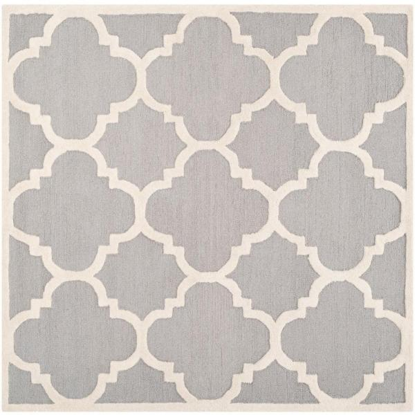 Safavieh Cambridge Silver Ivory 4 Ft X 4 Ft Square Area Rug Cam140d 4sq The Home Depot