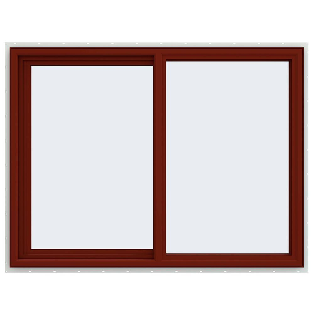JELD-WEN 47.5 in. x 35.5 in. V-4500 Series Left-Hand Sliding Vinyl Window - Red