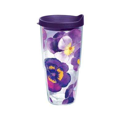 Watercolor Pansy 24 oz. Tumbler with Lid