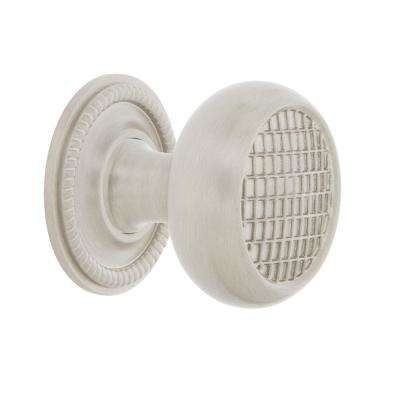 Craftsman 1-3/8 in. Satin Nickel Brass Cabinet Knob with Rope Rose