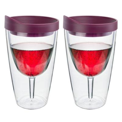 2-Piece Merlot Double Wall Acrylic Insulated Wine Tumbler Set