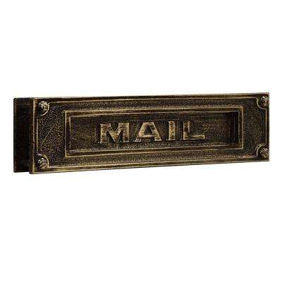 4000 Series 13.25 in. W x 3.5 in. H x 1.75 in. D Deluxe Solid Brass Mail Slot in Antique Finish
