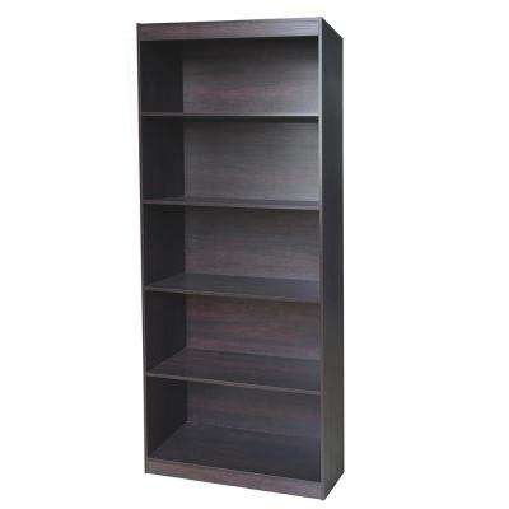 Wenge Sturdy Standard 5-Shelf Bookcase