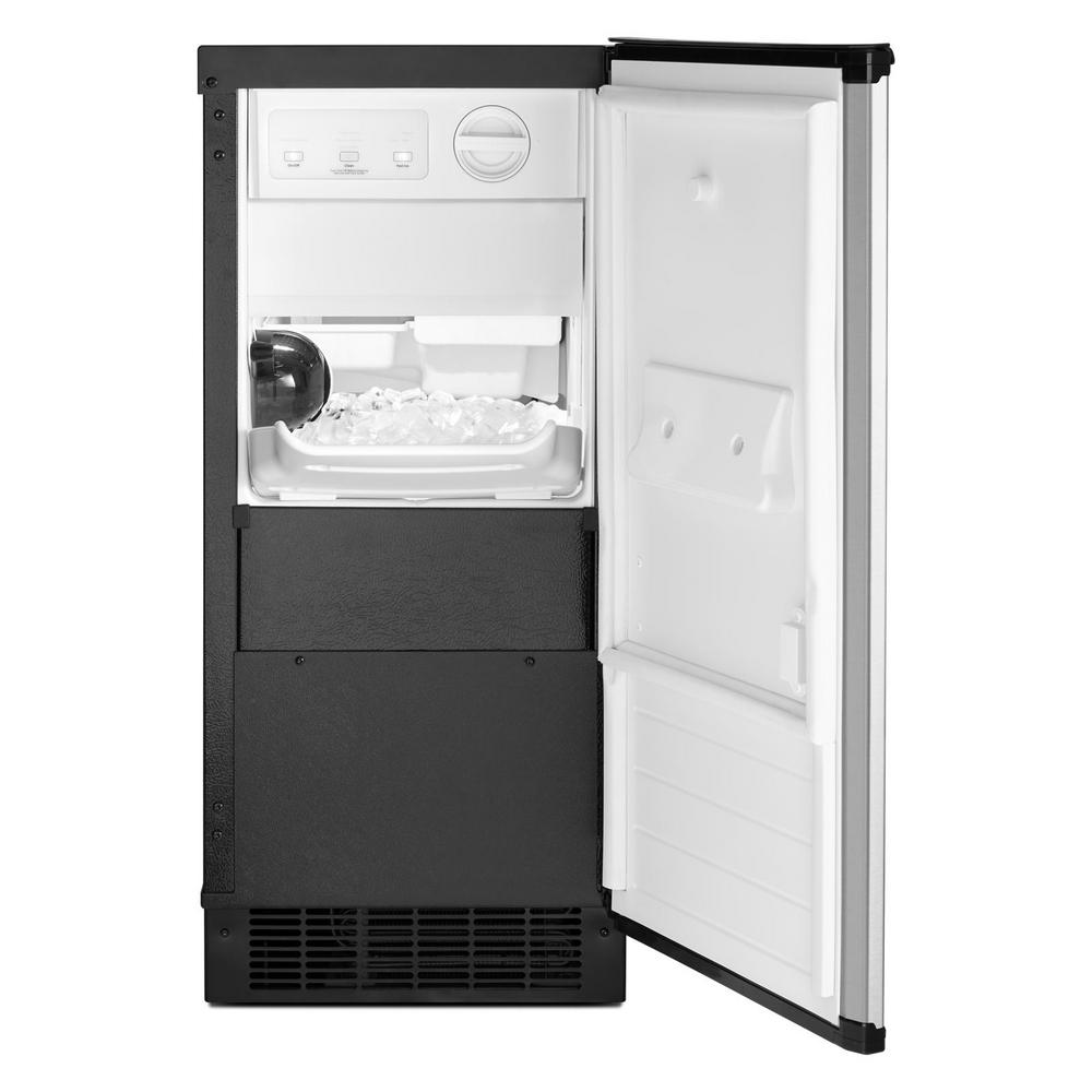 Whirlpool 15 In 50 Lb Built In Ice Maker In Fingerprint Resistant Stainless Steel Wui75x15hz The Home Depot
